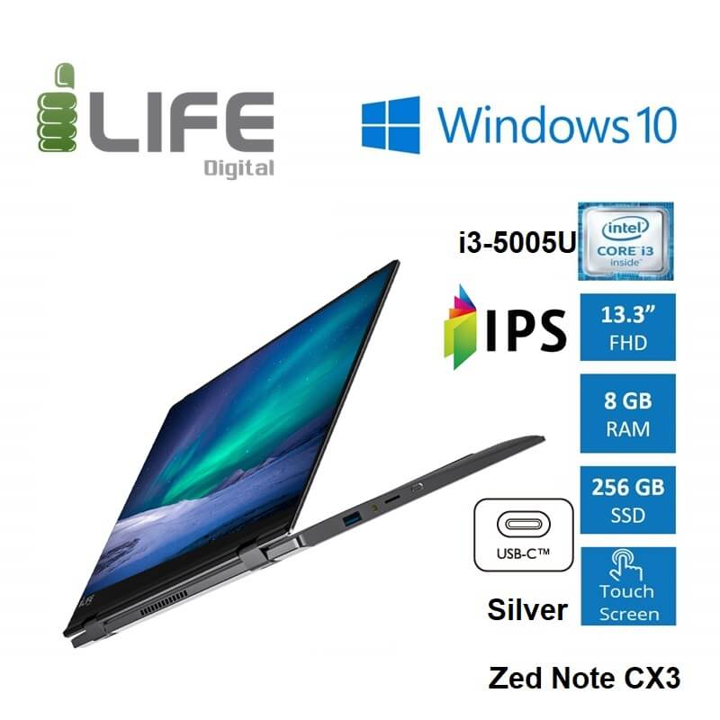Ilife Note Cx3 Tablet Laptop I3 5005 8gb 256gb Usbc Windows 10 13 3 Touch Convertible Silver 1yw Pc Kuwait